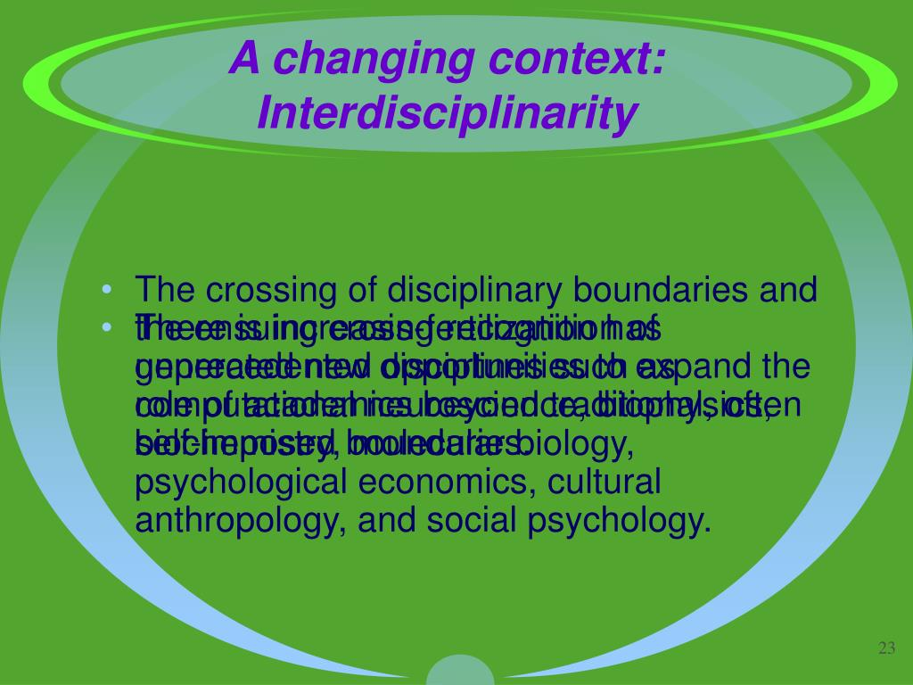 A changing context: Interdisciplinarity