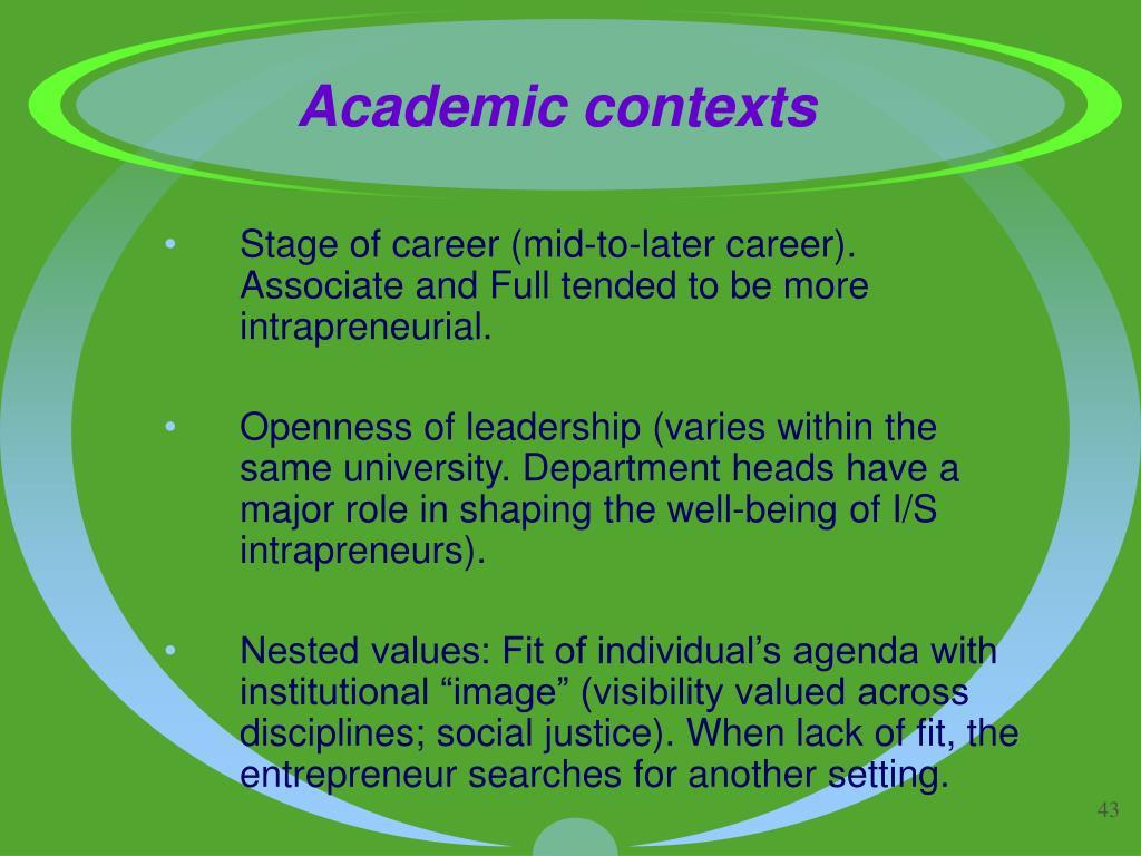 Academic contexts