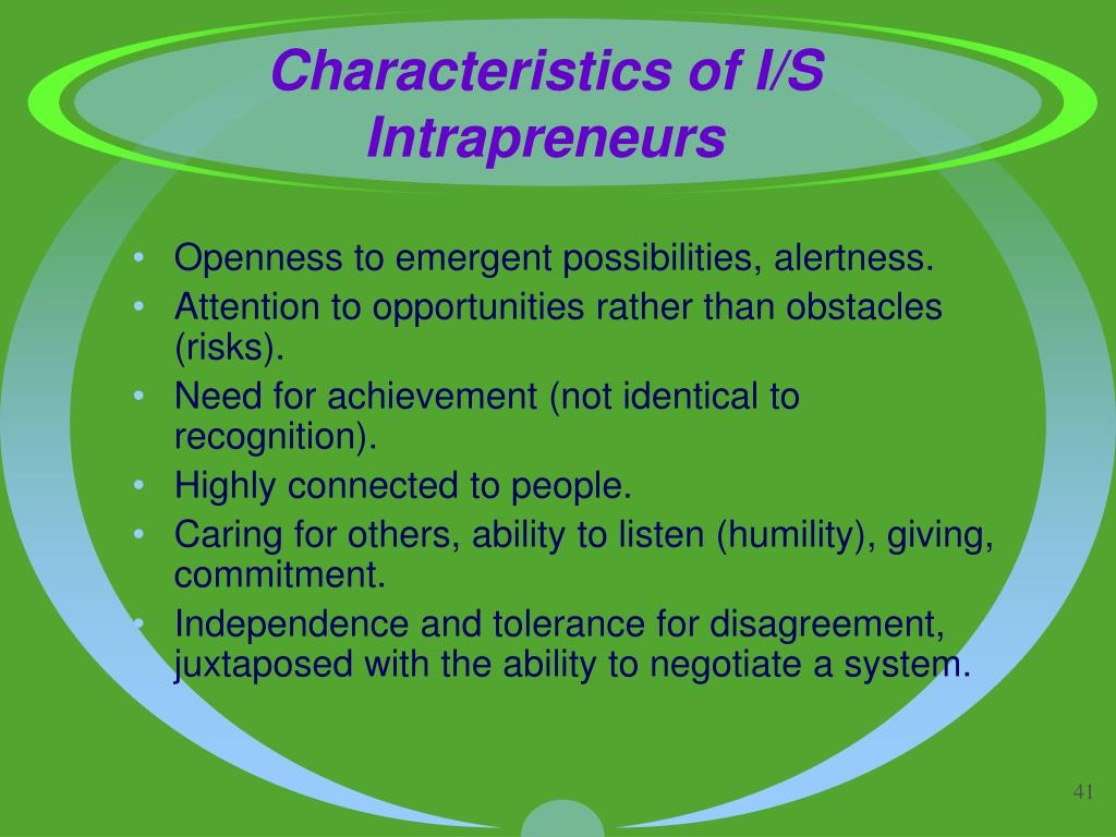Characteristics of I/S Intrapreneurs