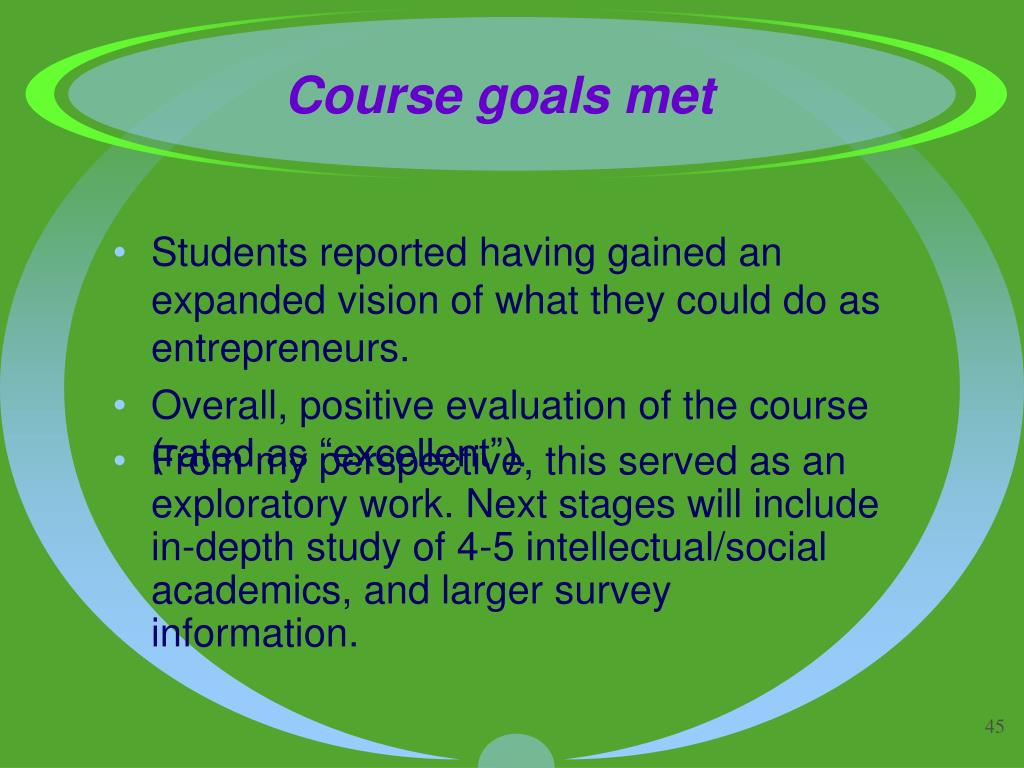 Students reported having gained an expanded vision of what they could do as entrepreneurs.