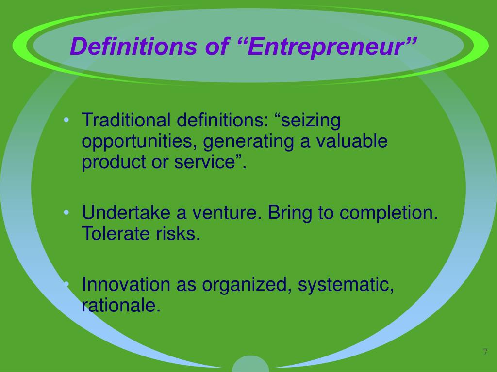 "Definitions of ""Entrepreneur"""