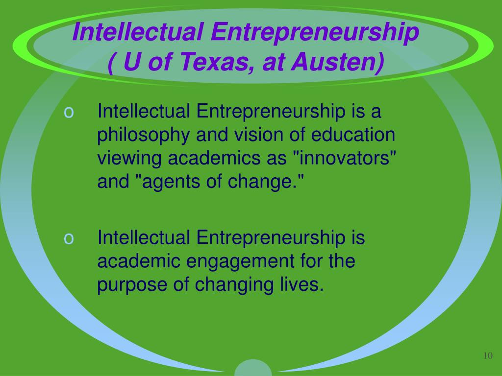Intellectual Entrepreneurship