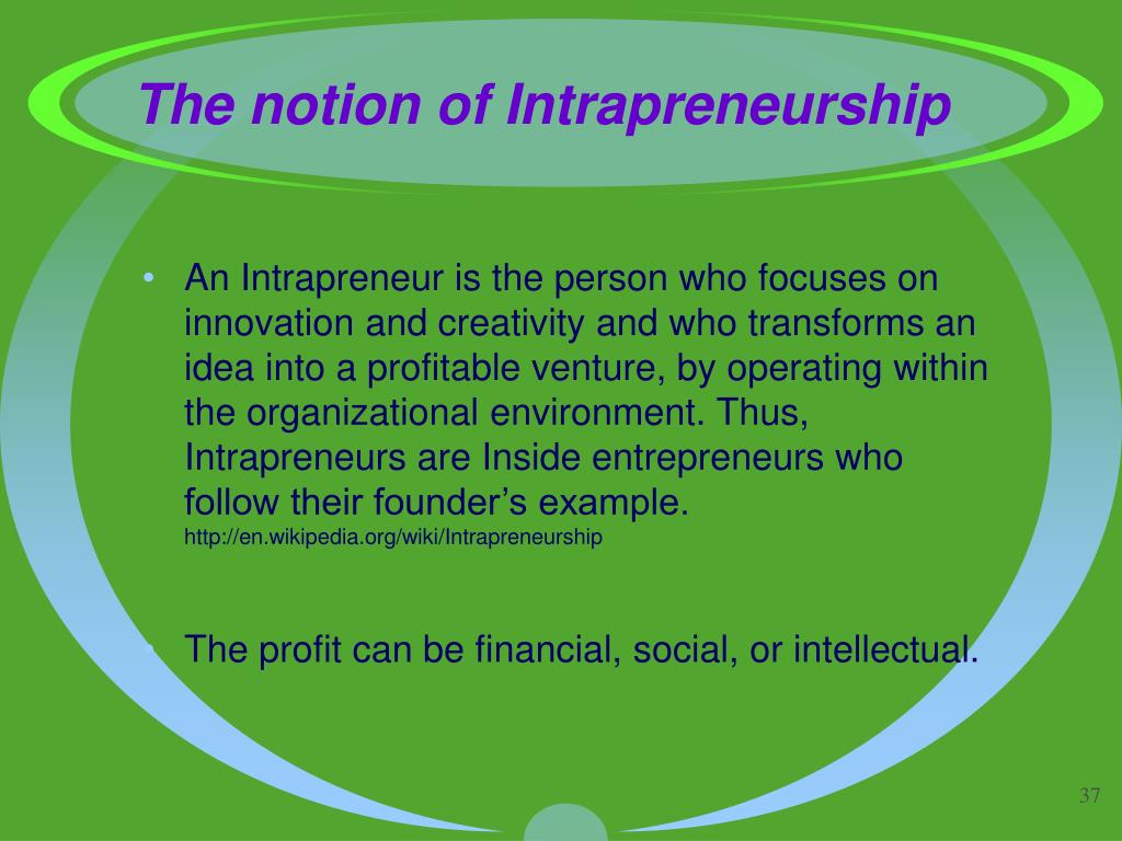 The notion of Intrapreneurship
