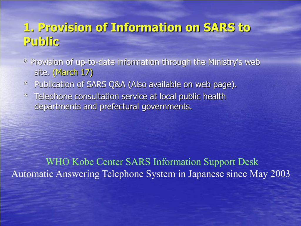 1. Provision of Information on SARS to Public