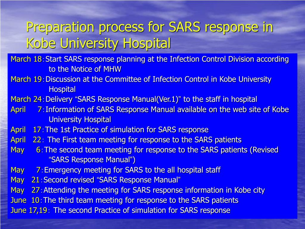 Preparation process for SARS response in Kobe University Hospital