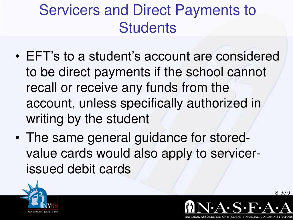 Servicers and Direct Payments to Students