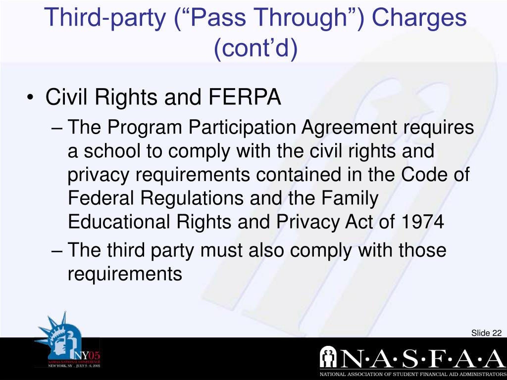 """Third-party (""""Pass Through"""") Charges (cont'd)"""