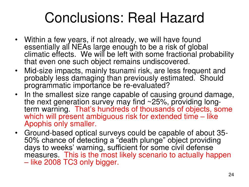Conclusions: Real Hazard