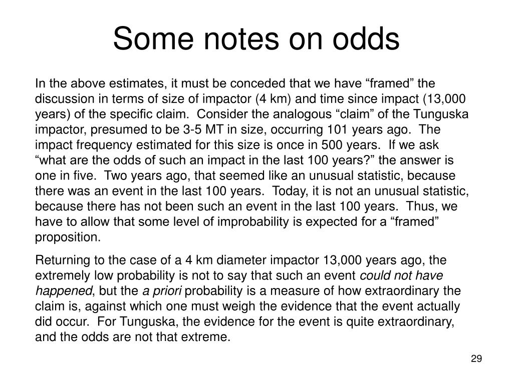Some notes on odds