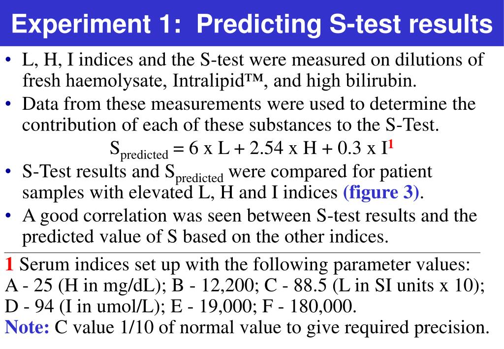 Experiment 1:  Predicting S-test results