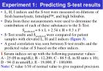 experiment 1 predicting s test results