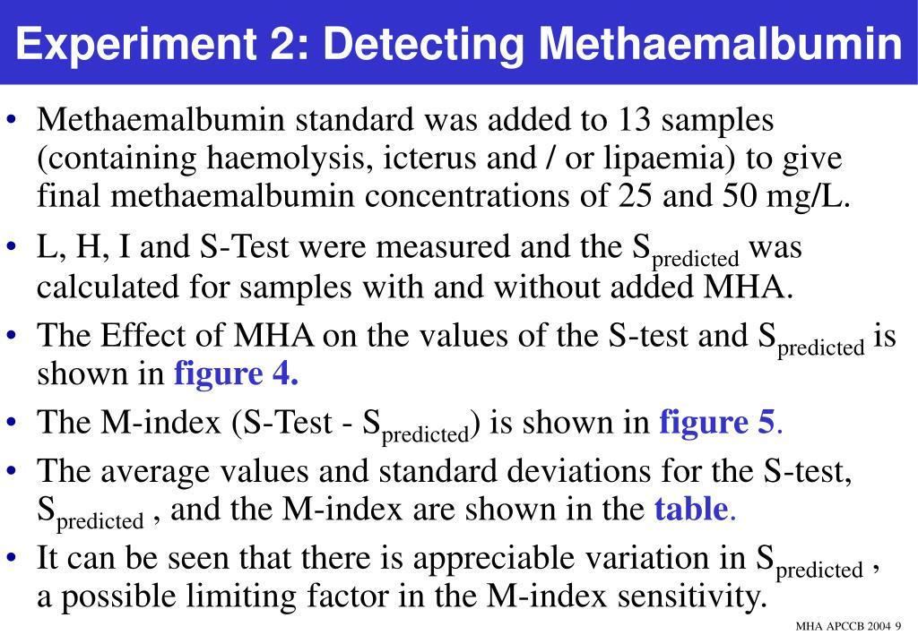 Experiment 2: Detecting Methaemalbumin