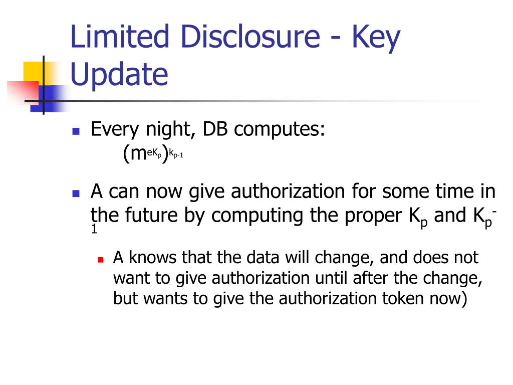 Limited Disclosure - Key Update