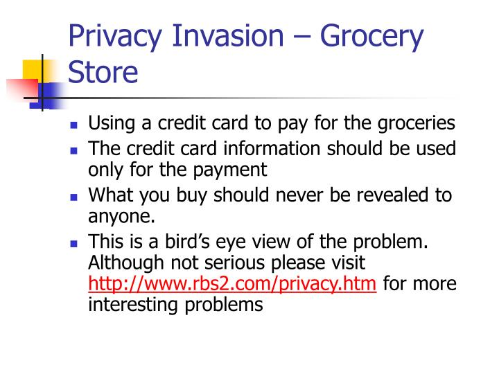Privacy invasion grocery store