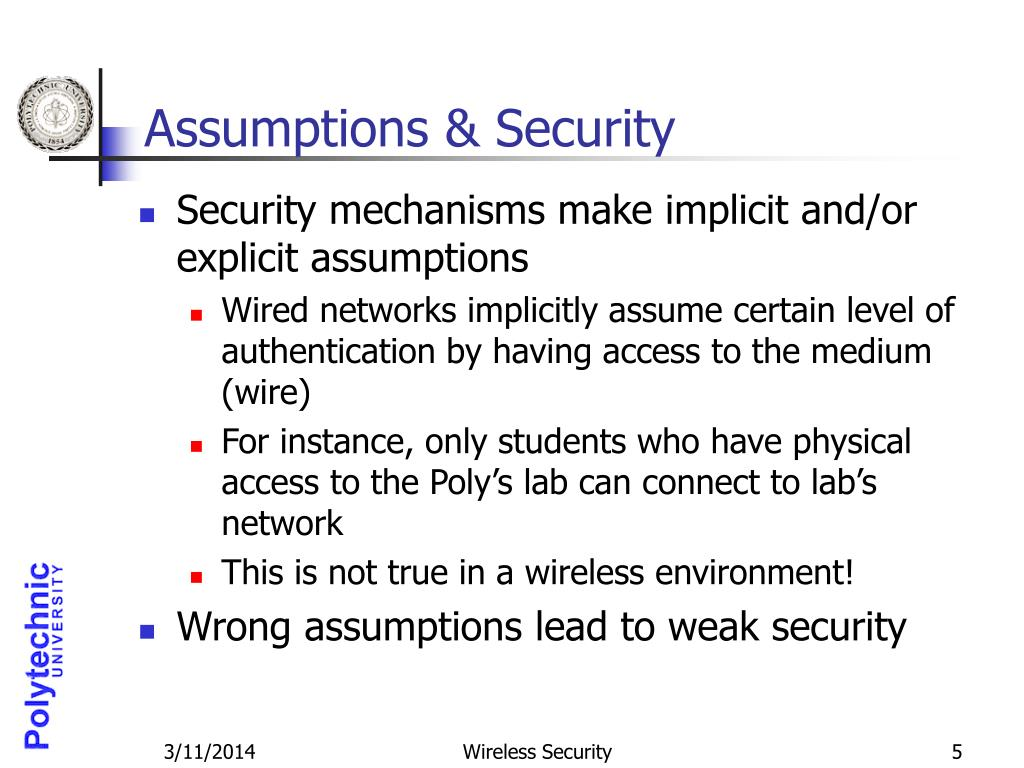 Assumptions & Security