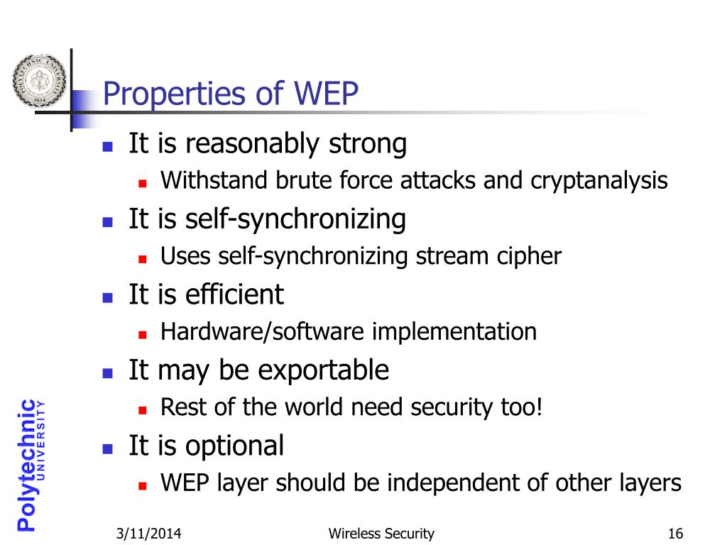 Properties of WEP