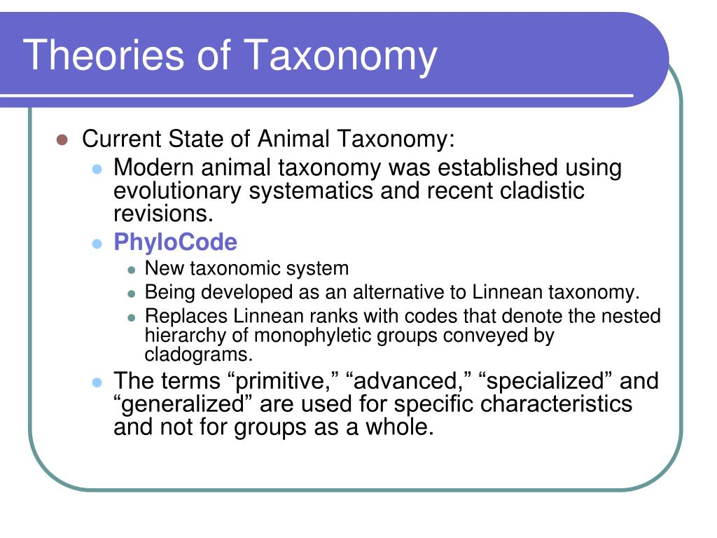 Theories of Taxonomy
