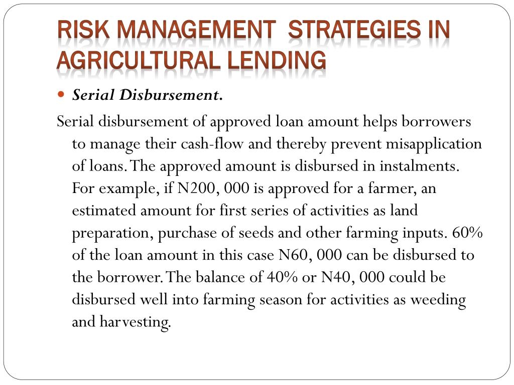 Risk Management  Strategies in Agricultural Lending