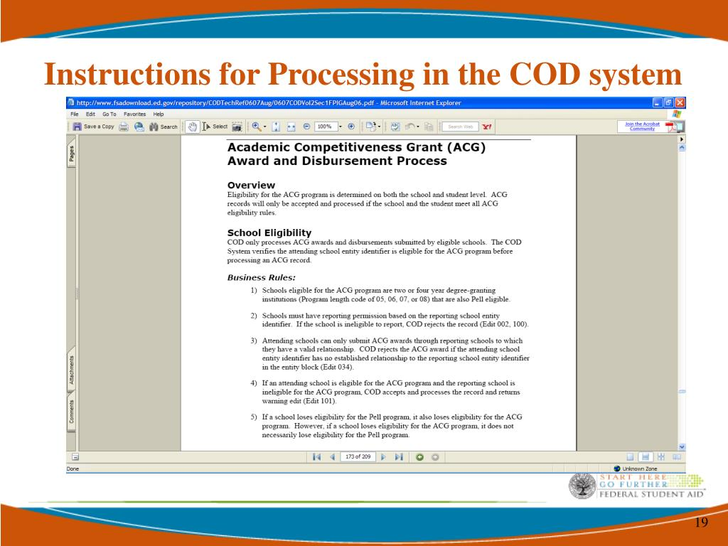 Instructions for Processing in the COD system