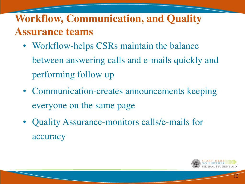 Workflow, Communication, and Quality Assurance teams