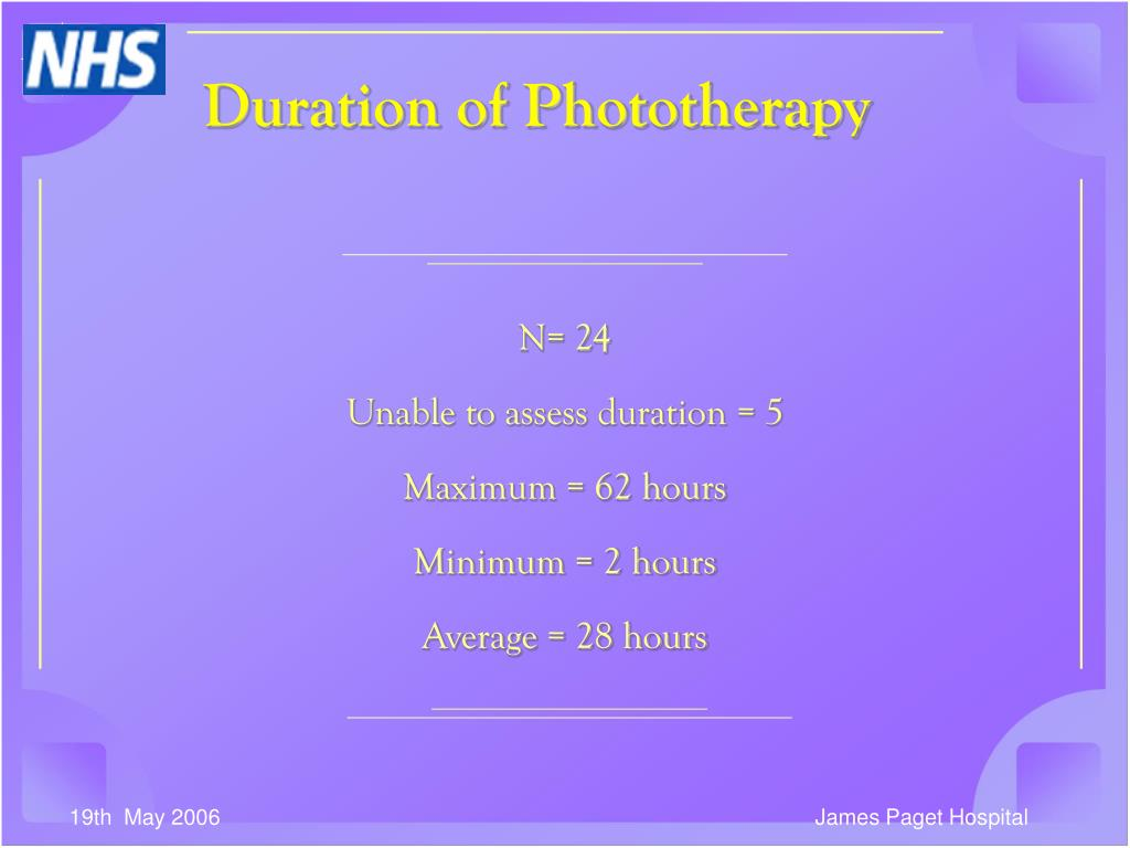Duration of Phototherapy