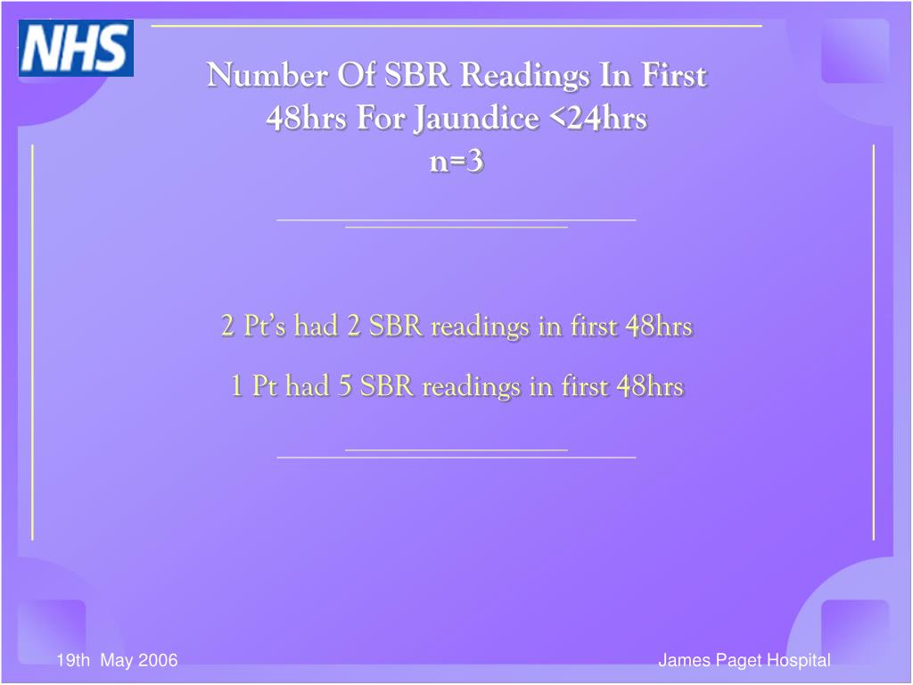 Number Of SBR Readings In First 48hrs For Jaundice <24hrs