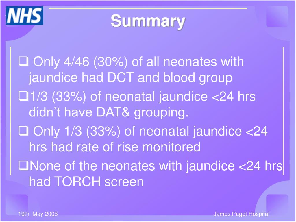 Only 4/46 (30%) of all neonates with jaundice had DCT and blood group