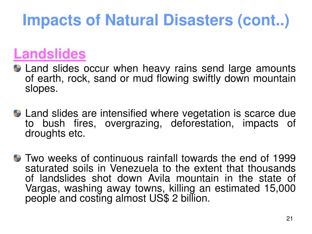 Impacts of Natural Disasters (cont..)