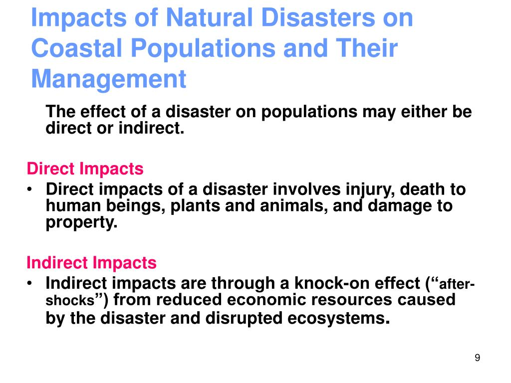 Impacts of Natural Disasters on Coastal Populations and Their Management