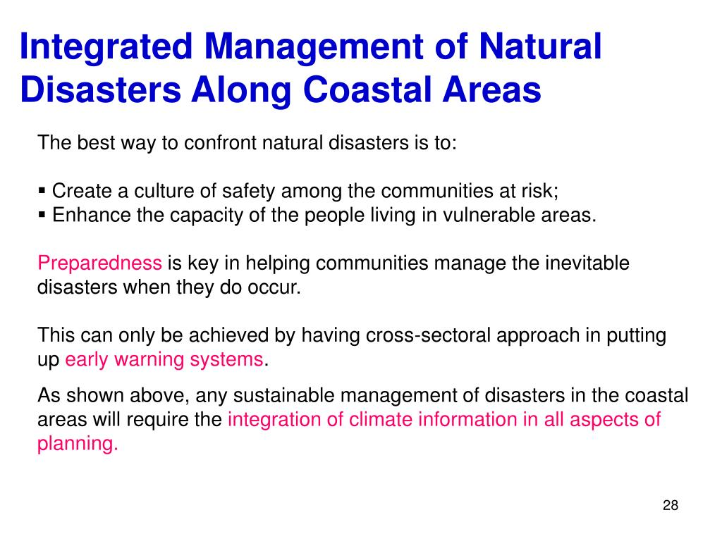 Integrated Management of Natural  Disasters Along Coastal Areas