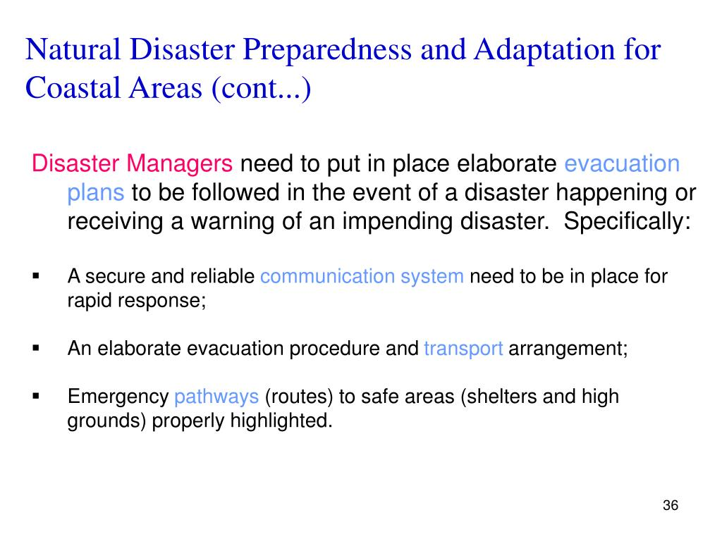 Natural Disaster Preparedness and Adaptation for Coastal Areas (cont...)