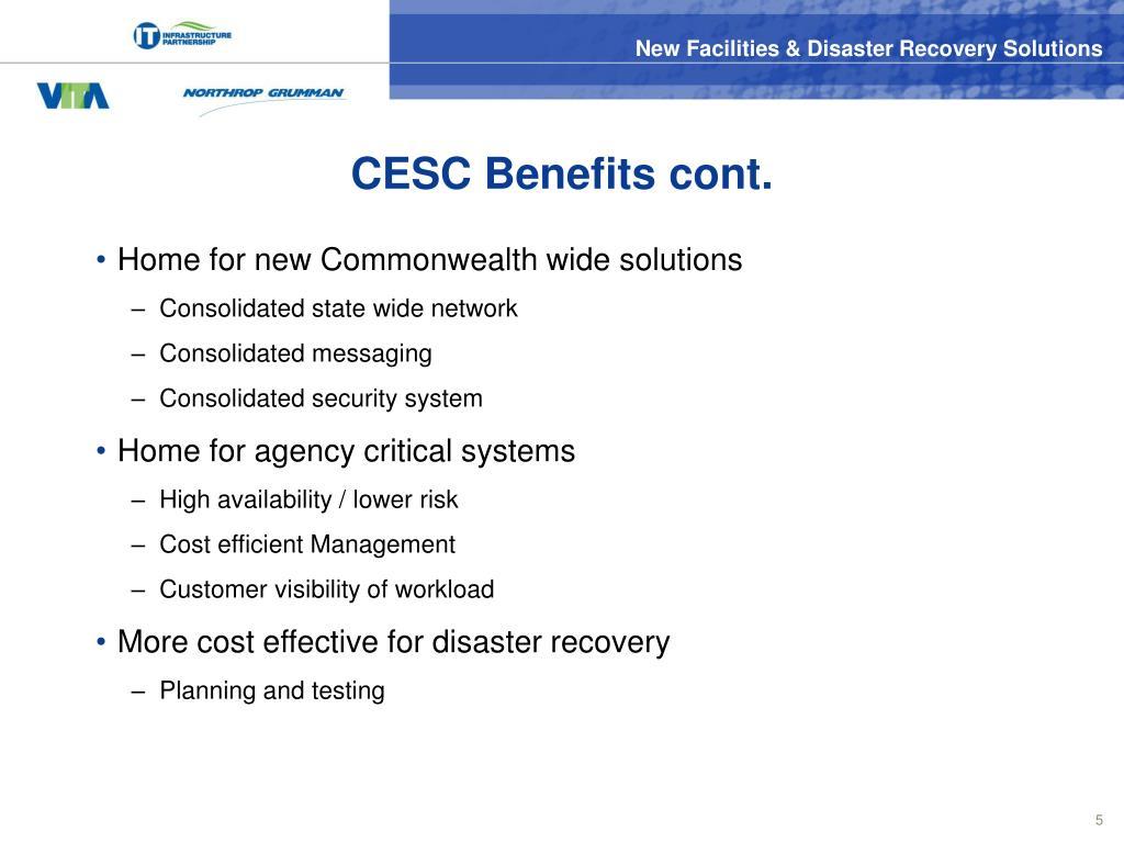 CESC Benefits cont.