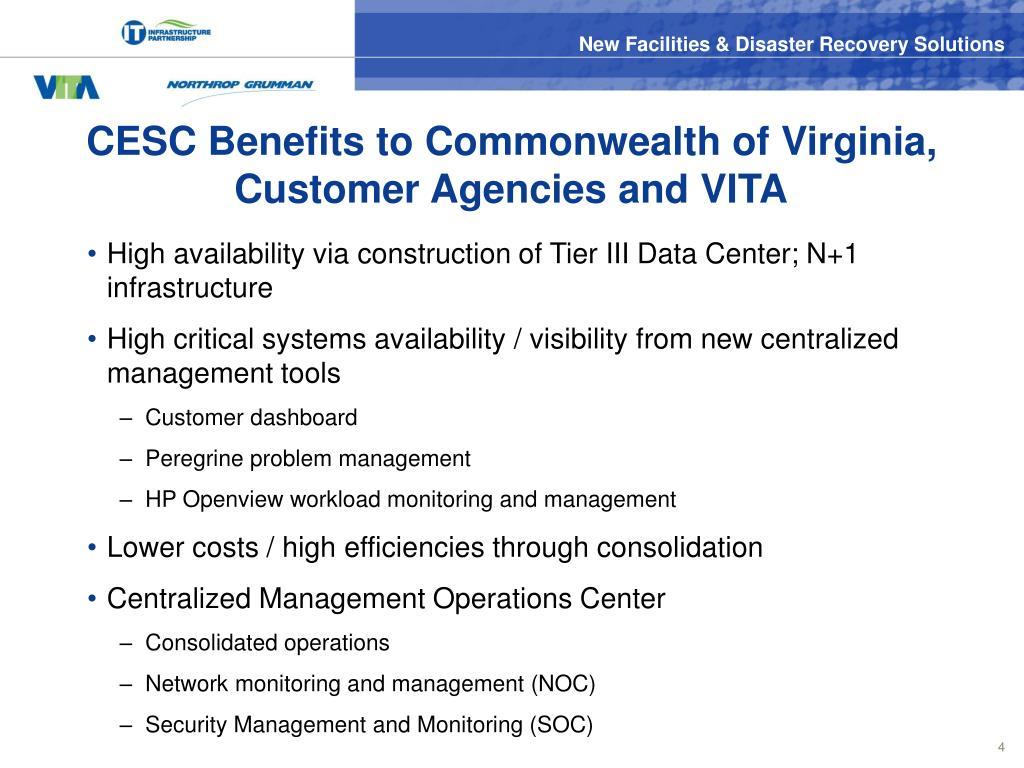 CESC Benefits to Commonwealth of Virginia, Customer Agencies and VITA