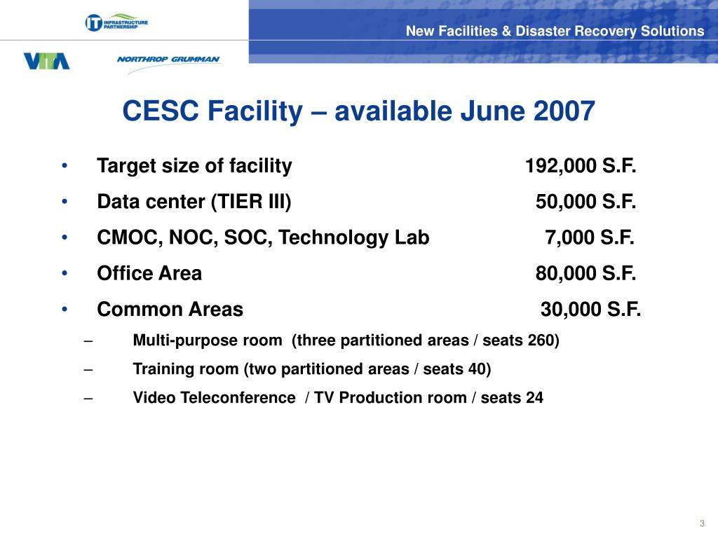 CESC Facility – available June 2007