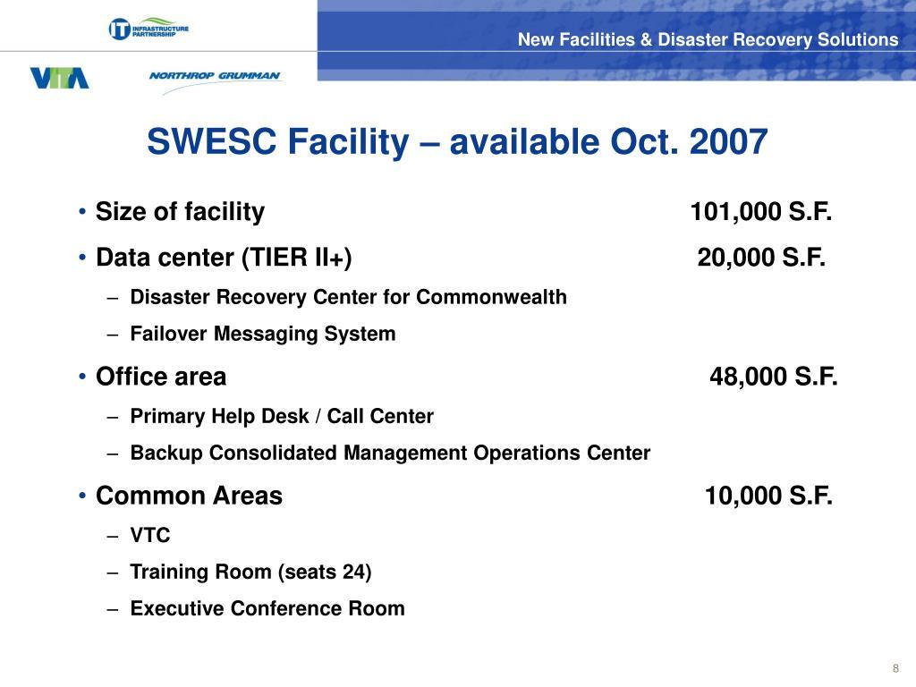 SWESC Facility – available Oct. 2007