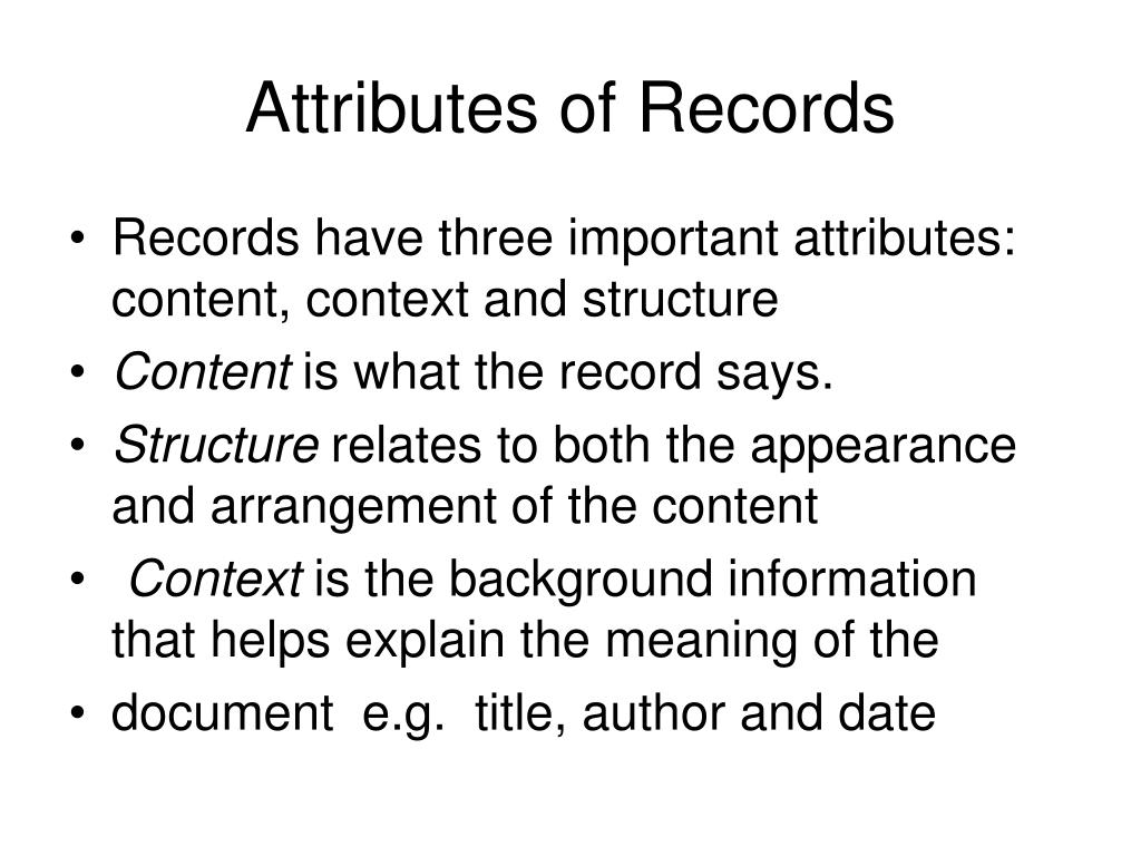 Attributes of Records