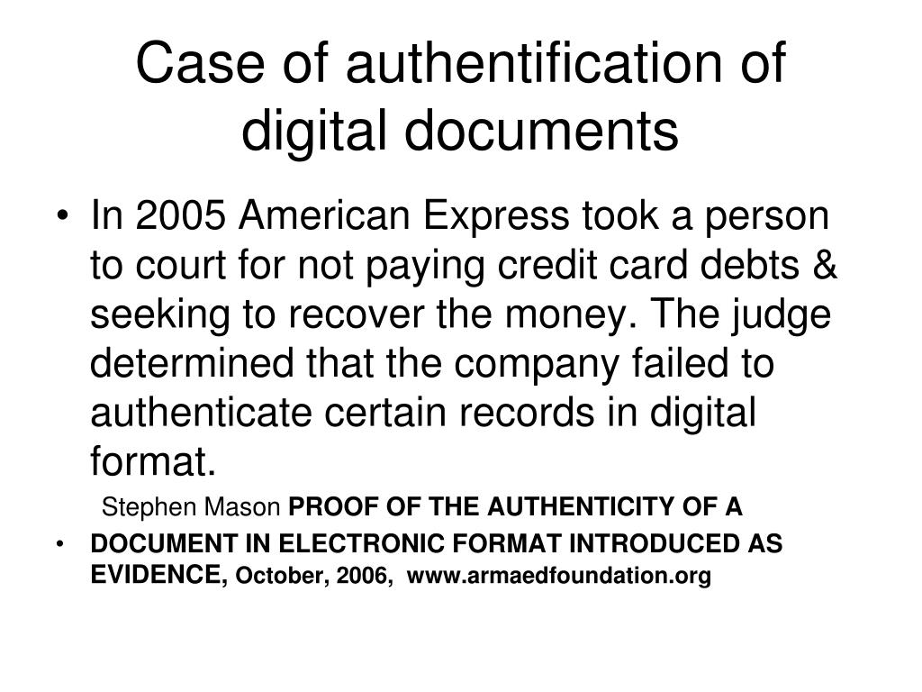 Case of authentification of digital documents