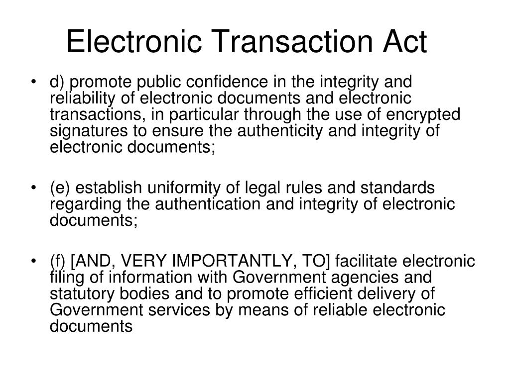 Electronic Transaction Act