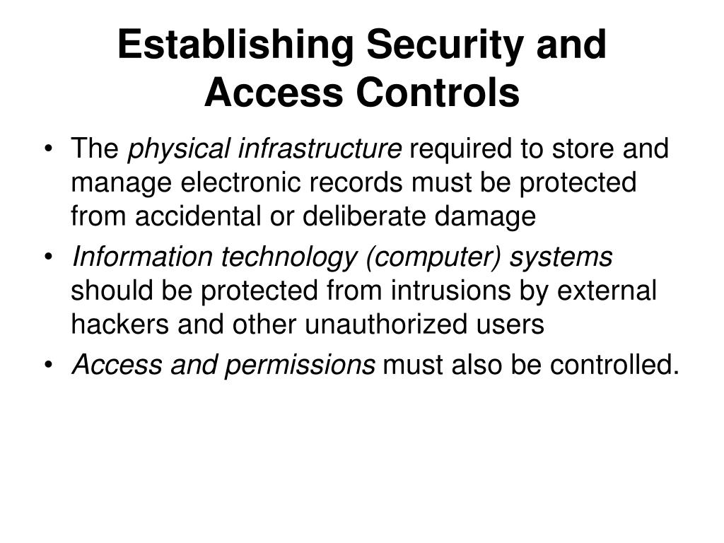 Establishing Security and Access Controls