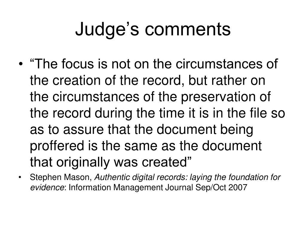 Judge's comments