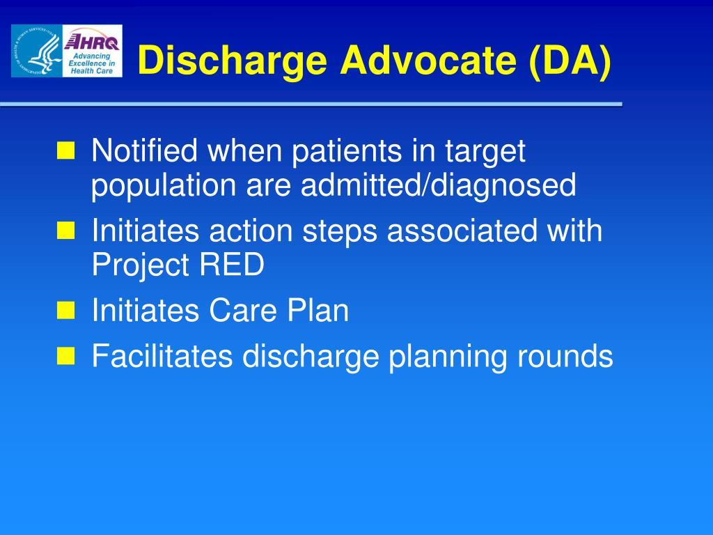 Discharge Advocate (DA)