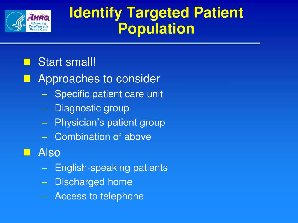 Identify Targeted Patient Population