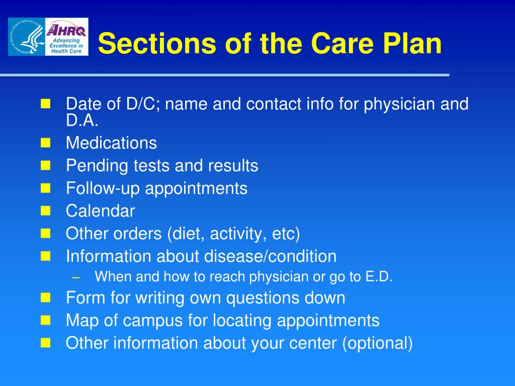 Sections of the Care Plan