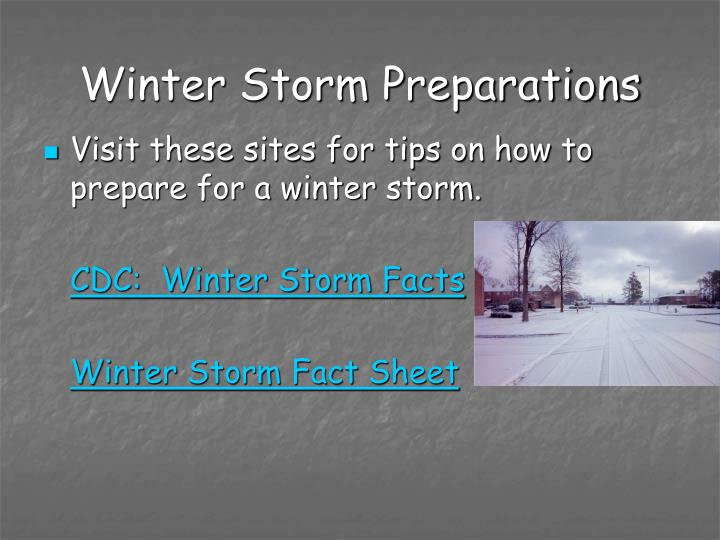Winter Storm Preparations