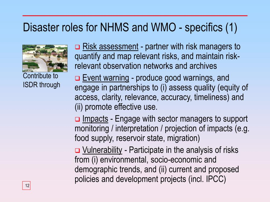 Disaster roles for NHMS and WMO - specifics (1)