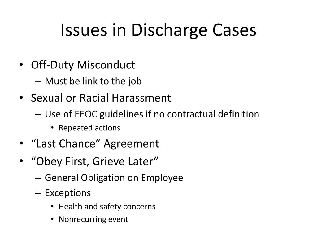 Issues in Discharge Cases
