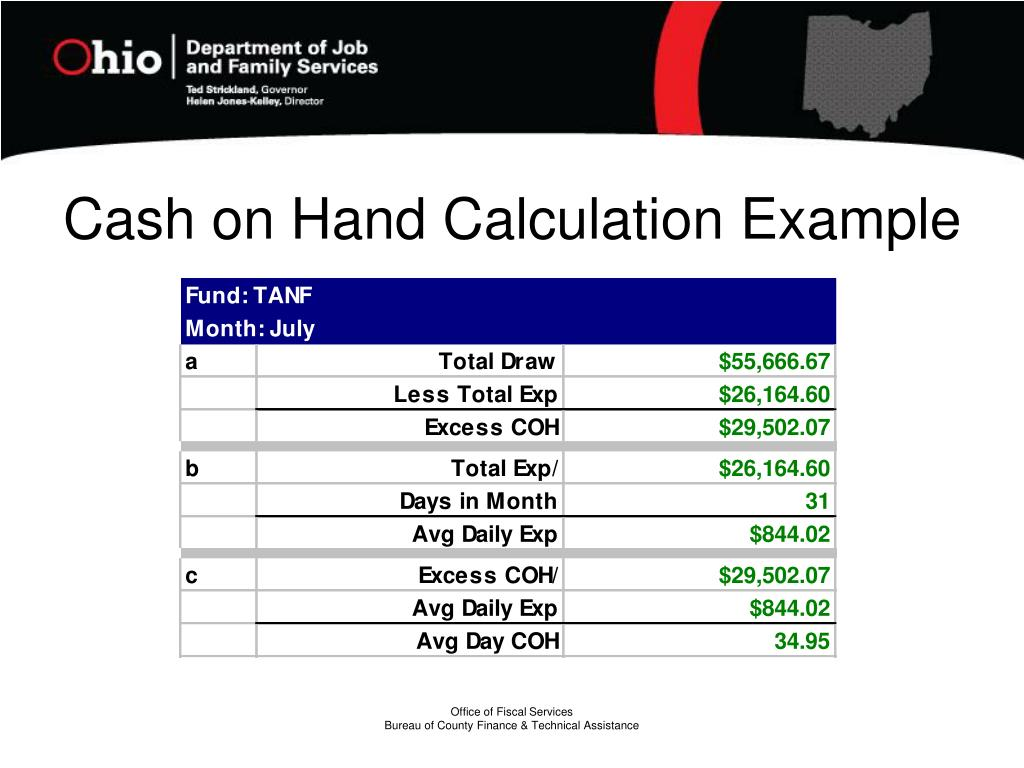 Cash on Hand Calculation Example