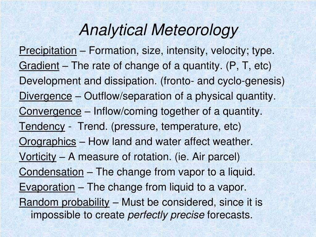 Analytical Meteorology
