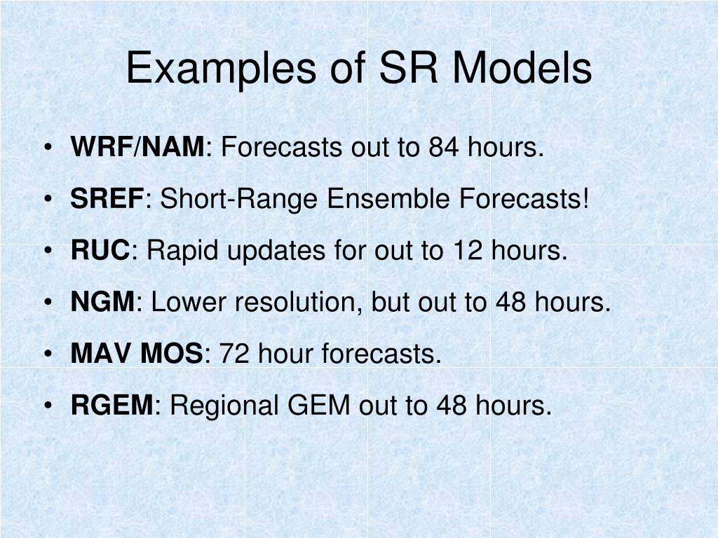 Examples of SR Models