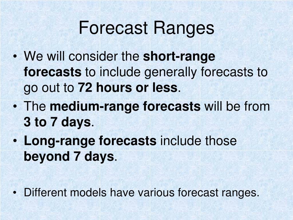 Forecast Ranges